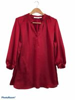 Sag Harbor Red Long Sleeve Satin V Neck Tunic Blouse Plus Size 2X Button Up