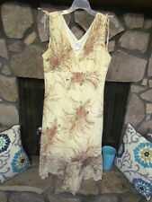 Women's Dress Size M Off White/Beige Lace Brown Floral Print Sleeveless Cute
