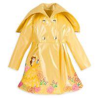 Disney Store Belle Rain Jacket Beauty & the Beast Coat Hood Yellow Size 9/10 NEW