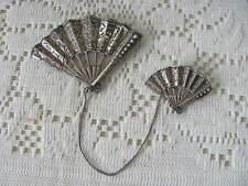 Antique Natacha Fan Chatelaine Brooch Sterling Double Fan Pin