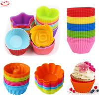 12Pcs Soft Silicone Cake Cup Mold Muffin Chocolate Cupcake Bakeware Baking Tool