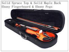3/4 Solid Wood & Ebony Fingerboard Violin/Bow/Rosin/Case/Free String Set