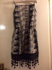 Summer Dress Black Patterned One size 10-14