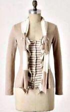 Anthropologie Moth long sleeve striped ruffled cardigan sweater tan size S/P
