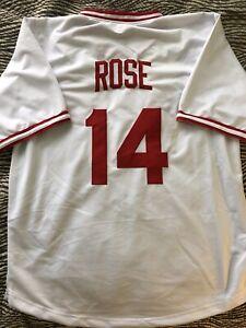 Pete Rose Custom Throwback Cincinnati Reds Jersey Mens Size XL