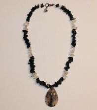 "Montana Moss Agate Necklace Sterling Silver 925 Clasp Artisan 15"" Crystal Black"