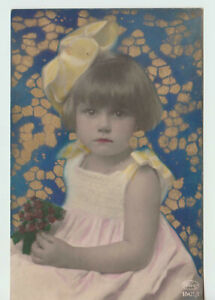 1925 Tinted Girl with Large Hairbow Postcard Nice Stamp