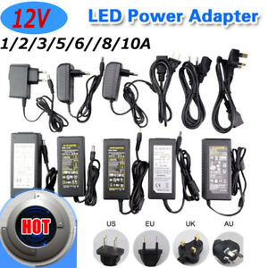 Universal 12V 1/2/3/5/6/8/10A AC DC LED Strip Adapter Charger Power Supply Black