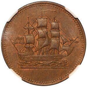 1835 Canada Prince Edward Island Ships Commerce Token PE-10-30 - NGC MS 64 BN