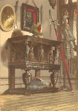 FURNITURE. Elizabethan sideboard in Warwick Castle 1845 old antique print