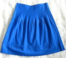 Gold by Giles Colbalt Blue Cotton Pleat Aline flared Knee length skirt size 10