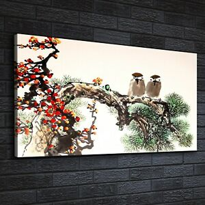 Canvas Print Wall Art Animals painting Chinese tree birds ink cherry 140x70