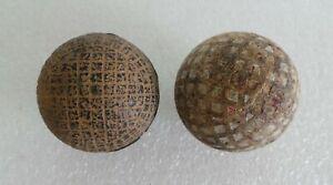 ANTIQUE GUTTA PERCHA - MESH PATTERN GOLD BALL & OLD WOODEN GOLF BALL - UNNAMED