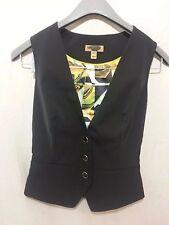 TED BAKER  WOMEN'S Sz 0 BLACK 3 BUTTON VEST Design on Back NWOT