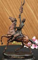 "Frederic Remington Bronze Statue Sculpture ""The Buffalo Signal"" Home Decor Gift"
