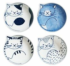 Japanese traditional Hasami yaki Cat Dish Bowl Set of 4 wooden box F/S Tracking