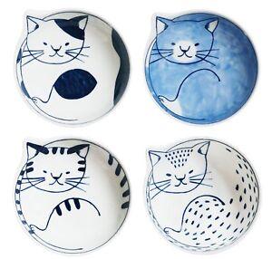Japanese traditional Hasami yaki Cat Dish Bowl Set of 4 wooden box F/S Tracking