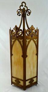 "Vintage 38""H Hexagonal Brass Cathedral HANGING Lantern w/ Slag Glass Panels 1950"