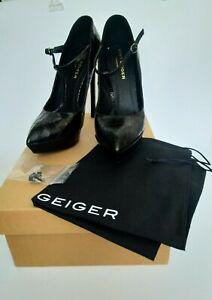 Kurt Geiger Black Leather High Heels Platform Shoes & Shoe Bag EU41 Preloved