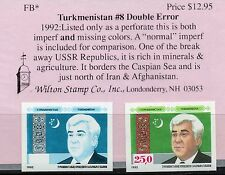 Turkmenistan, 1992, Sc.#8, Double Error: Imperf and missing Color, MNH  RG1.047