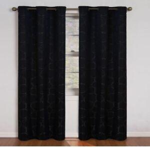 Eclipse Black Geometric Blackout Curtain - 42 in. W x 84 in. L ( single Panel)