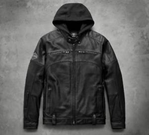 Harley Davidson Men's Swingarm Black Leather Jacket Hoodie 3 in 1 Small NEW