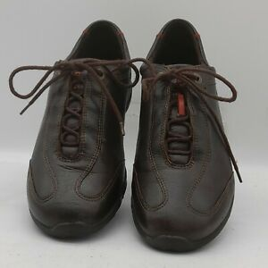 Women's ECCO Size 6 UK Brown Leather Casual Trainers/Sneakers Laced In E U C