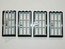 Lego Prohibida Puerta Puerta 1x4x6 Negro Gris x4 para castillo dungeon la cárcel prisión Barras +