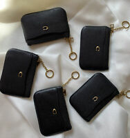 New Coach 68334 Leather Key Ring Zip Coin Wallet Card Case Black