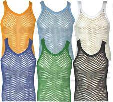 Mens String Cotton Vest Mesh Net Holiday Beach Summer Wear   S M L XL