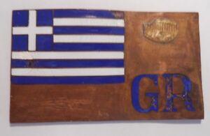 VINTAGE ENAMEL AUTOMOBILE CAR BADGE , NATIONAL GREEK FLAG HELLAS ELPA GREECE.