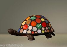 Verre Teinté qualité mutlicolour Turtle Tortue TIFFANY LAMPE DE TABLE 23cm