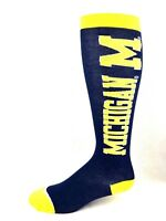 Michigan Wolverines NCAA Navy Thin Long Socks with Yellow Heel Toe and Cuff