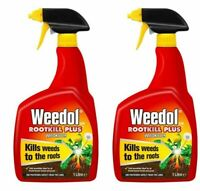 Weedol Rootkill Plus Weedkiller - 1 Litre Trigger Bottle spray pack of 2
