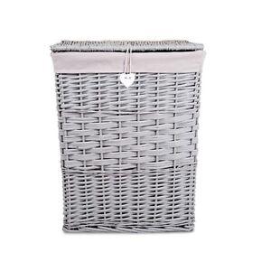 Premium Grey Paint Laundry Wicker Basket Cotton Lining With Lid Bathroom Storage