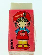 Vintage1970's Mitsubishi Uni Pencil Eraser Girl W/Flower Hat Pink W/ White