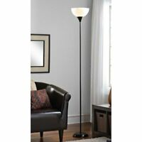 "71"" Metal Floor Lamp Brown Black Gold Silver [Tea Stained Or White Shade]"