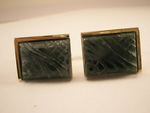 -Carved Green Soapstone Vintage ANSON Cuff Links