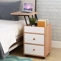 Nightstand Bedside Bedroom End Table Drawers Storage Wood Shelf Living Room