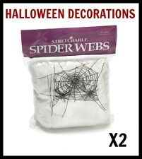 2 PK STRETCHABLE SPIDER WEB Scary Halloween Party Decoration Cobweb Spider Prop