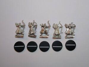 Warhammer LOTR- 5x Lothlorien Wood Elves. Metal. OOP