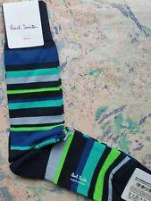 Paul Smith Mens English Socks Bangor Stripe Navy Turquoise K774 One Size Cotton