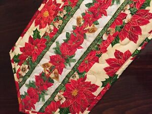Handcrafted-Quilted Table Runner -Christmas Spirit - Poinsettias & Music Galore