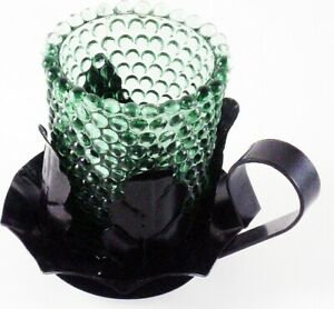Glass Cup Cut-Out Leaf Design Metal Candle Holder