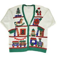 Marisa Christina Sweater II Vintage 90's Christmas V Neck Cardigan Womens 2XL