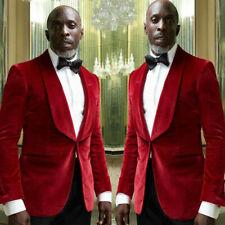 Red Velvet Men's Suits Shawl Lapel Wedding Tuxedos Groom Prom Blazers Tailored