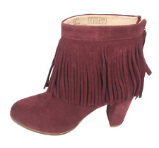 Womens Ladies Oxblood Suede High Heel Winter Shoes Ankle Boots Size UK 5E New