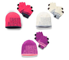 UNDER ARMOUR GIRL'S 2.0 BEANIE HAT & GLOVE COMBO SET PINK PURPLE IVORY SIZE 8-20