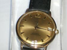 VINTAGE SWISS MEN'S AUTOMATIC 25 RUBIS GOLD PLATED DAY WATCH 1970s WORKING