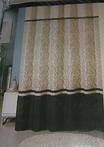 "New Fabric Shower Curtain 72"" X 72"" Embroidered Modern Cream and Black"